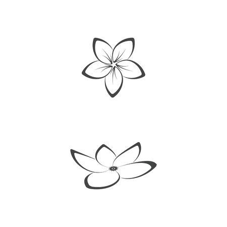 Beauté plumeria icône fleurs design illustration Template