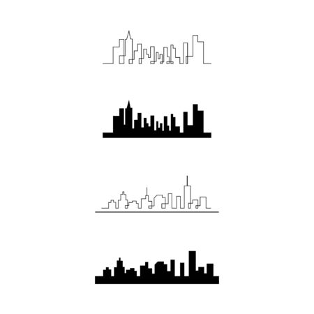 Set city skyline vector silhouette illustration  イラスト・ベクター素材
