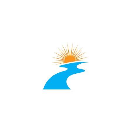 Naturaleza de símbolo de vector de plantilla de logotipo de río