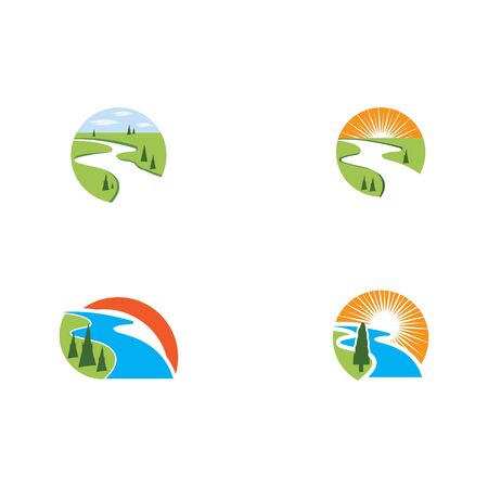 Set River vector icon illustration design