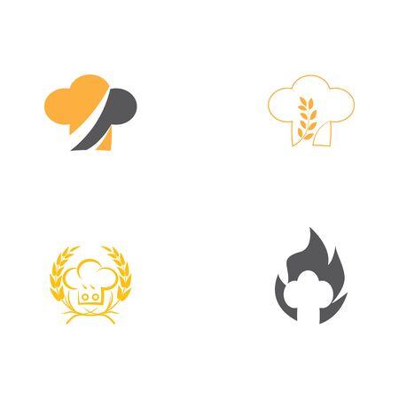 Set hat chef logo template vector illustration