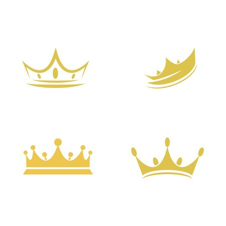 Set Crown Logo Template vector icon illustration design Logo
