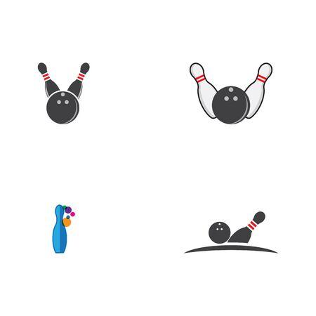 Set Bowling pin Logo Template vector icon illustration design