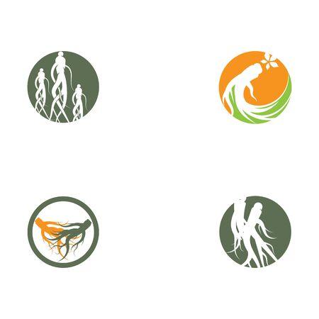 Set Ginseng Wave Logo Template vector symbol nature