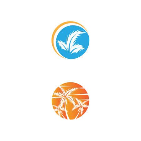Palm tree summer logo template vector illustration