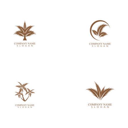 Set Palm tree summer logo template vector illustration