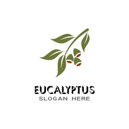 Eucalyptus leaves logo vector template design illustration