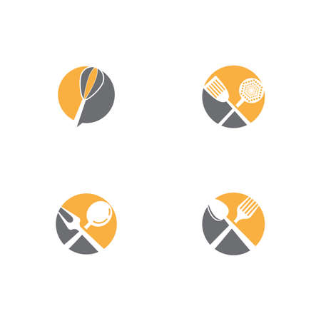 Set Kitchen icon cooking tools vector flat design