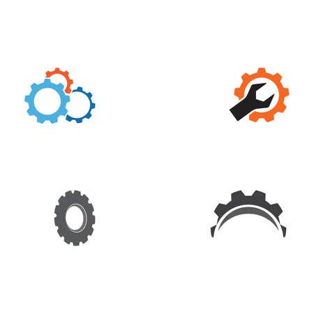 Set Gear Logo Template vector icon illustration design Ilustração