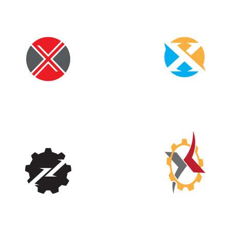 Set X Letter Logo Template vector icon illustration design