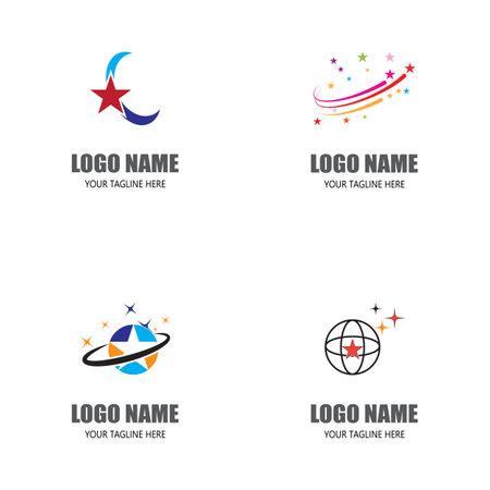 Set Star logo template vector icon illustration design