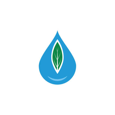 Water drop / droplet with leaf for natural fresh healthy eco logo design vector