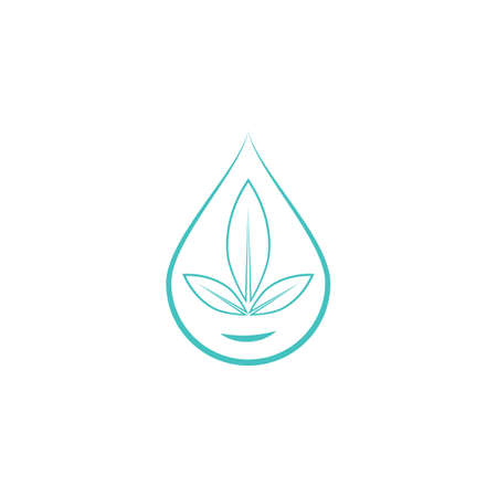 Water drop / droplet with leaf for natural fresh healthy eco logo design vector Logó