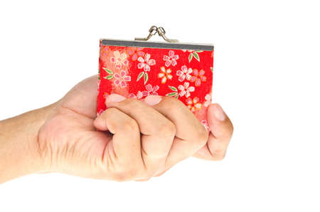 Hand holding wallet on white background  photo