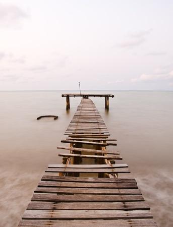 contrast: old sea pier