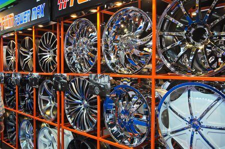 magneto: BANGKOK - MARCH 30: Magnesium alloy wheels on display at The 33th Bangkok International Motor Show on March 30, 2012 in Bangkok, Thailand.