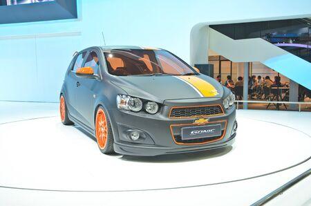 BANGKOK - MARCH 30: Chevrolet sonic car on display at The 33th Bangkok International Motor Show on March 30, 2012 in Bangkok, Thailand.