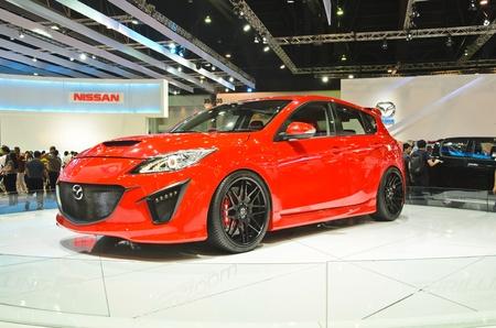 BANGKOK - MARCH 30: Mazda 3 car on display at The 33th Bangkok International Motor Show on March 30, 2012 in Bangkok, Thailand. Stock Photo - 13365168
