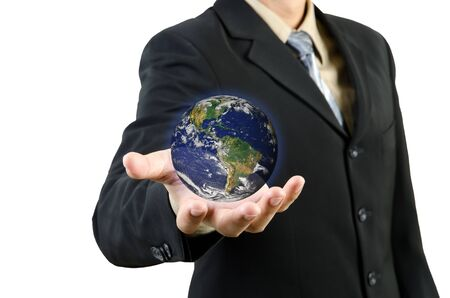 Businessman hand holding planet Earth  Elements of this image furnished by NASA photo