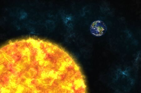 planet Earth and sun in the space photo