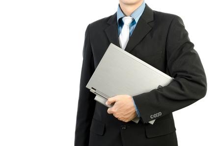 officetower: businessman holding laptop computer