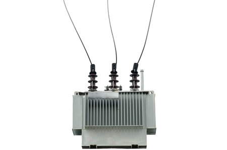 substation: electric transformer on white background