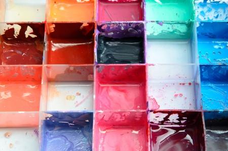 Closeup of a palette of watercolor paints Stock Photo - 15248628