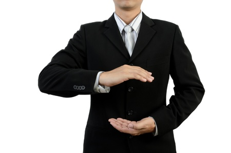 Businessman holding empty hands Stock Photo