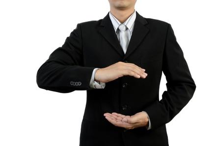 handsign: Businessman holding empty hands Stock Photo