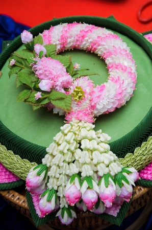 Fabric flower garlands of thai style photo