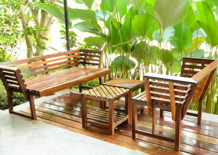 dining table and chair in the garden Stock Photo - 17095778