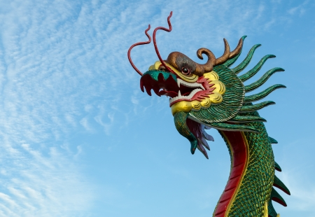 Colorful head of dragon statue in temple on white background photo