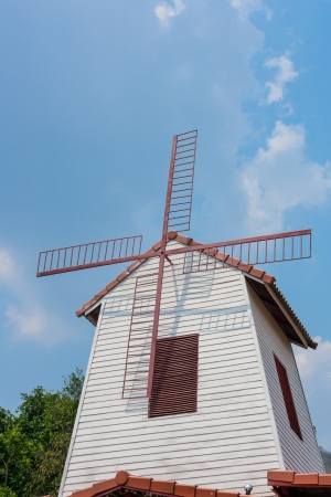 windmill and blue sky photo