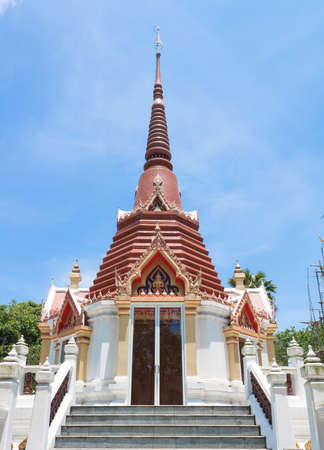pagoda at chakmak temple in rayong thailand photo