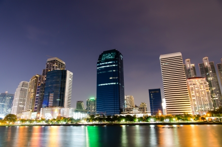 business area at night in Bangkok, Thailand photo
