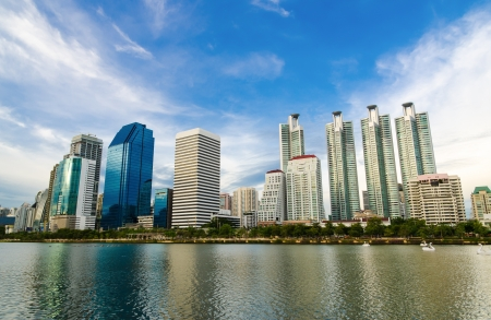 high rise buildings: business area in Bangkok, Thailand Stock Photo