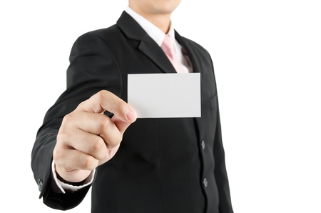 Businessman showing blank business card photo