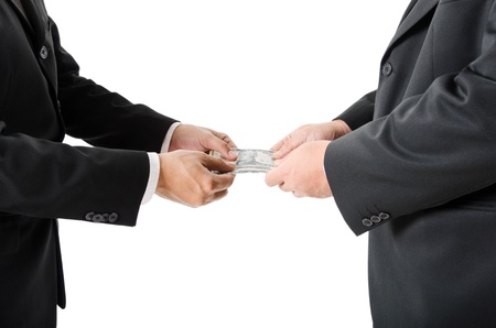 Money,borrow money,Hand giving money to other hand isolated Stock Photo