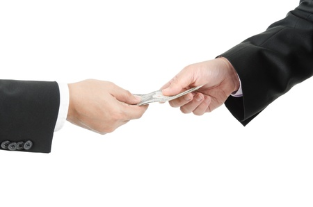 lend: Money,borrow money,Hand giving money to other hand isolated Stock Photo