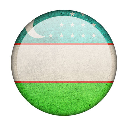 Uzbekistan button flag photo