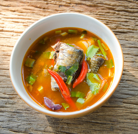 gung: Spicy lemon grass soup Mackerel ,thai name Tom Yam, canned fish,thai food