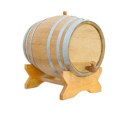 wood staves: new oak wine barrel on white