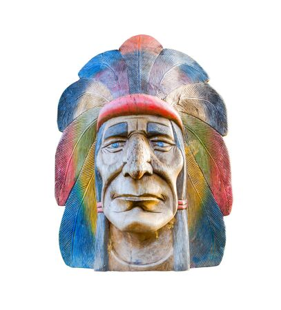 indian artifacts: indian head carving wood