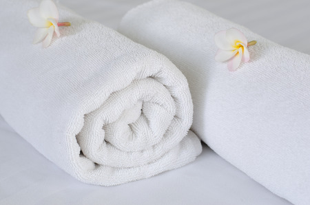 terry: white spa towels Stock Photo