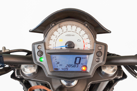 rain gauge: Cierre de tablero motocicleta Foto de archivo