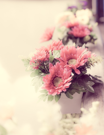 Colorful decoration artificial flower,vintage effect Stock Photo