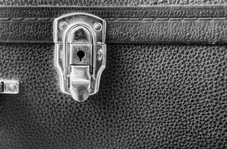 Old key hole and leather texture,Black and White effect Stock Photo