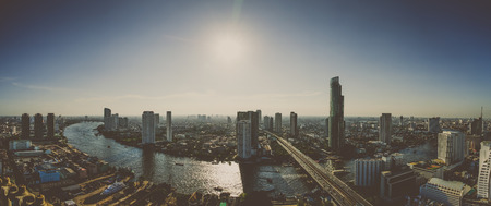 Panorama of River in Bangkok city in the afternoon with bird view,with retro effect Stock Photo