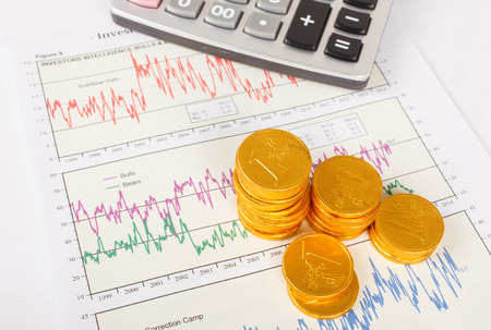 brand monitoring: sheet of  investment graph report with gold coins,and calculator Stock Photo