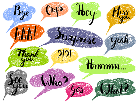 Speech bubble colorful set isolated. Most common used words and phrases for Internet communication,vector illustration